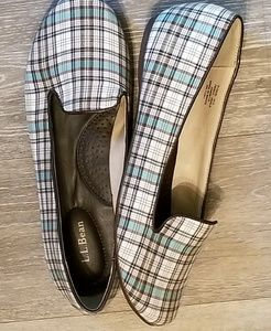 Nwot LL Bean plaid canvas slip on flats size 9.5